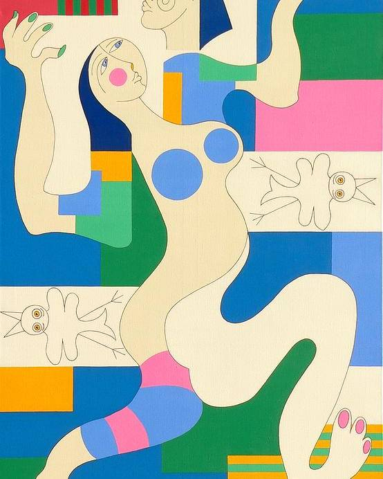 Modern Constructivisme People Birds Original Stylisme Poster featuring the painting Dancing by Hildegarde Handsaeme