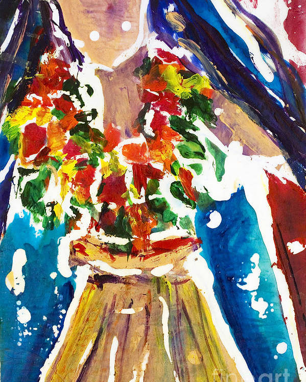A4-csw0030 Poster featuring the painting Dancing Hula by Julie Kerns Schaper - Printscapes