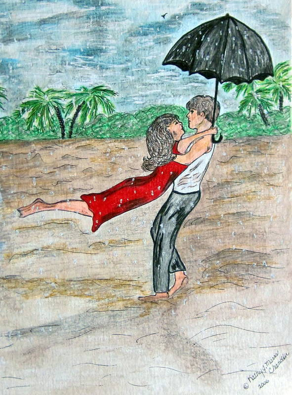 Dancing Poster featuring the painting Dancing In The Rain On The Beach by Kathy Marrs Chandler
