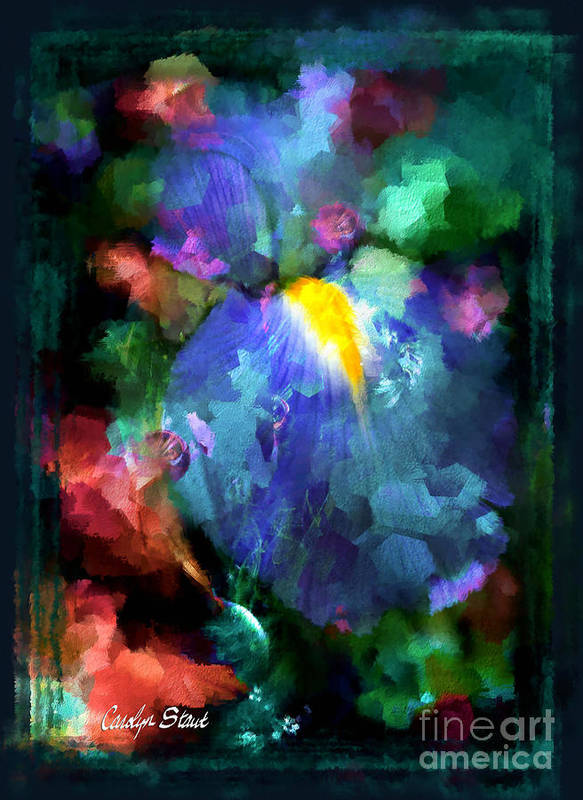 Abstract Foral Abstracts Blue Iris Wall Art Poster featuring the painting Dancing Iris by Carolyn Staut