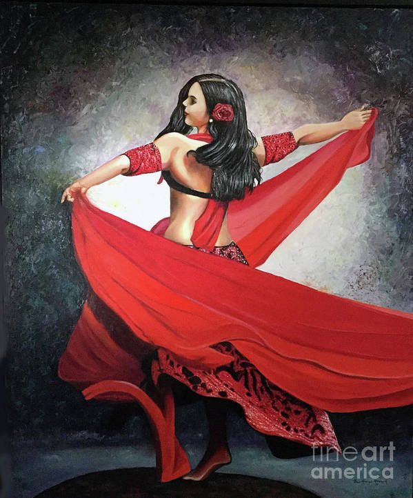 Belly Dancing Poster featuring the painting Dancing Lady by Jose Manuel Abraham