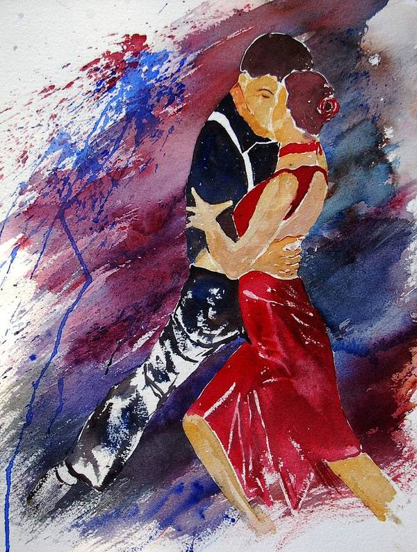 Tango Poster featuring the painting Dancing Tango by Pol Ledent