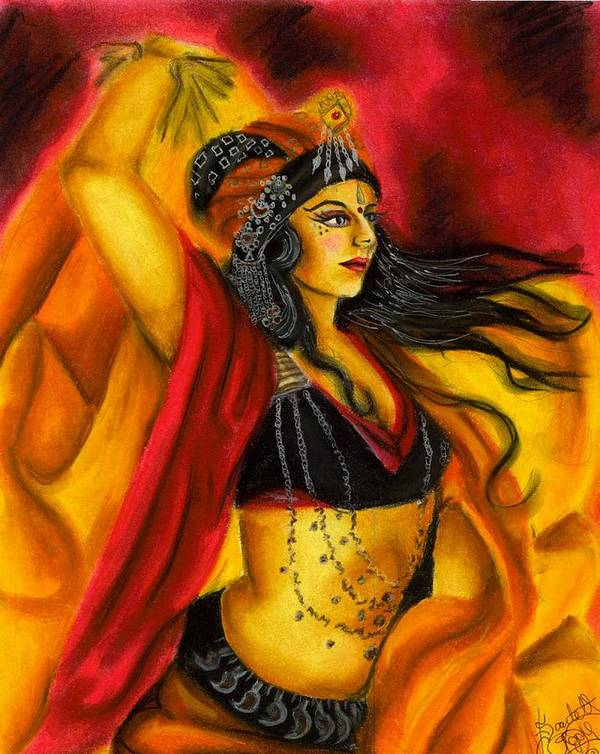 Belly Dancer Poster featuring the drawing Dancing With Fire by Scarlett Royal