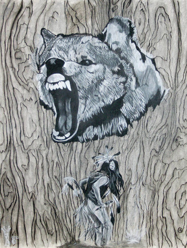 Drawings Poster featuring the drawing Dancing With The Spirit Of The Wolf by KeMonee Casey