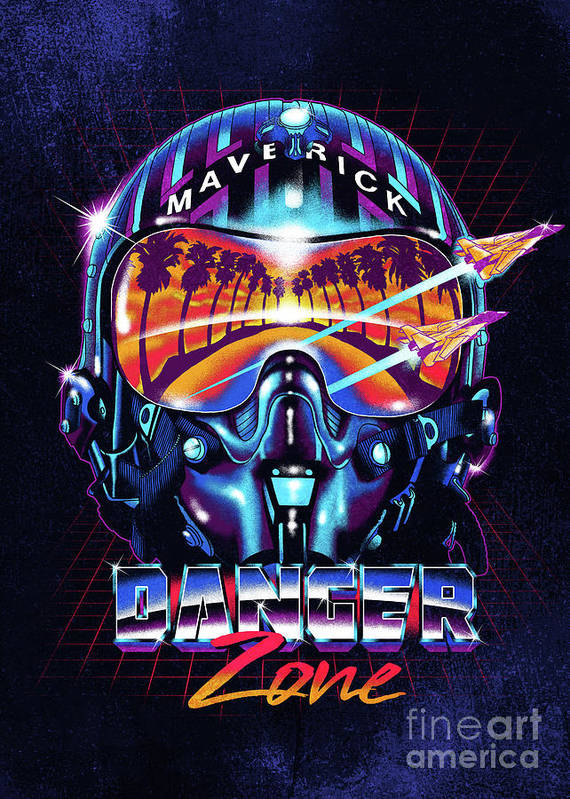 Helmet Poster featuring the digital art Danger Zone / Top Gun / Maverick / Pilot Helmet / Pop Culture / 1980s Movie / 80s by Zerobriant Designs