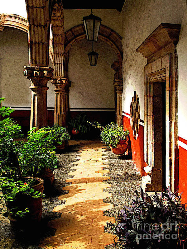 Patzcuaro Poster featuring the photograph Dappled Sun In The Morning Courtyard by Mexicolors Art Photography