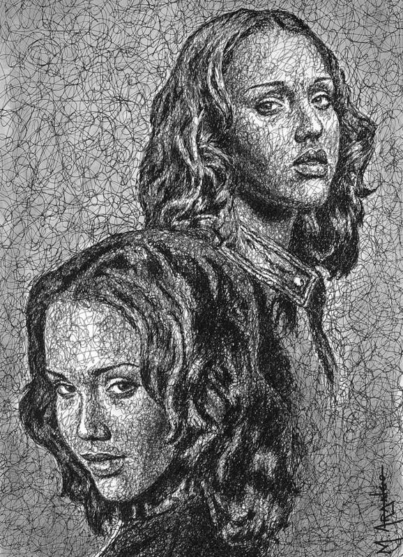 Dark Angel Poster featuring the drawing Dark Angel by Maria Arango