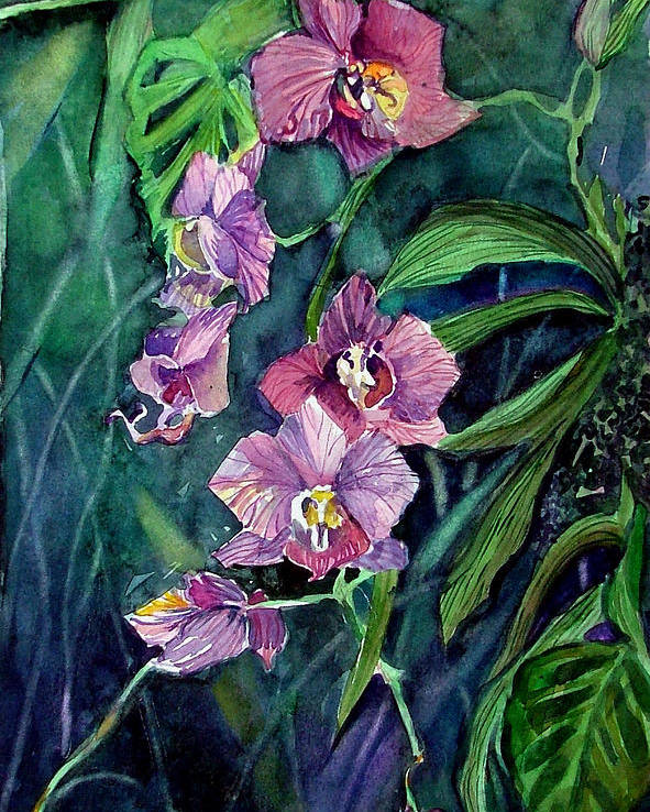 Orchid Poster featuring the painting Dark Orchid by Mindy Newman