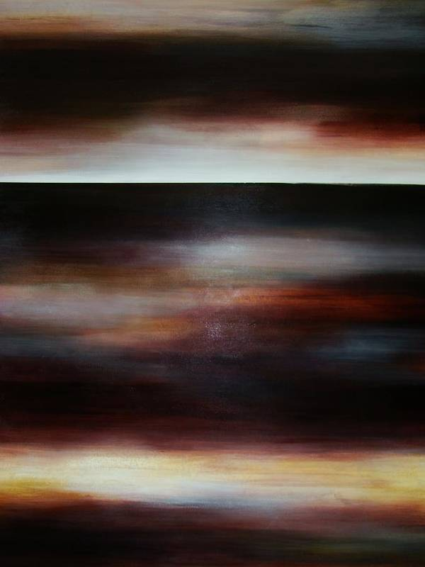Brown Poster featuring the painting Dark Shadow Horizon by Janine Jones