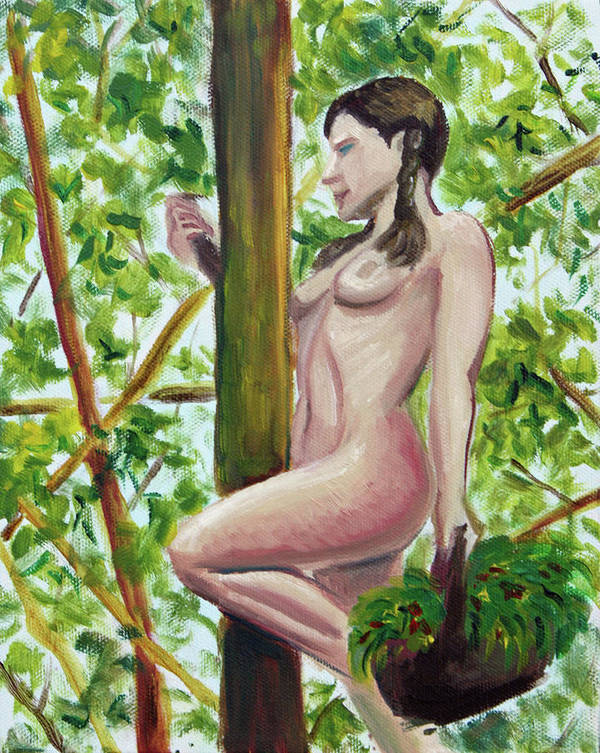 Hilary J England Contemporary American Artist Figurative Outdoor Plein Air Nude Study Poster featuring the painting Darlene With Basket by Hilary England