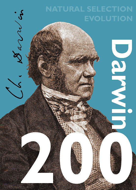 Charles Darwin Poster featuring the digital art Darwin 200 by Steve Wyburn