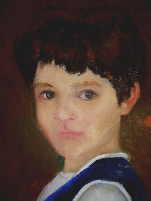 Child Portrait Poster featuring the painting David  copyrighted by Kathleen Hoekstra