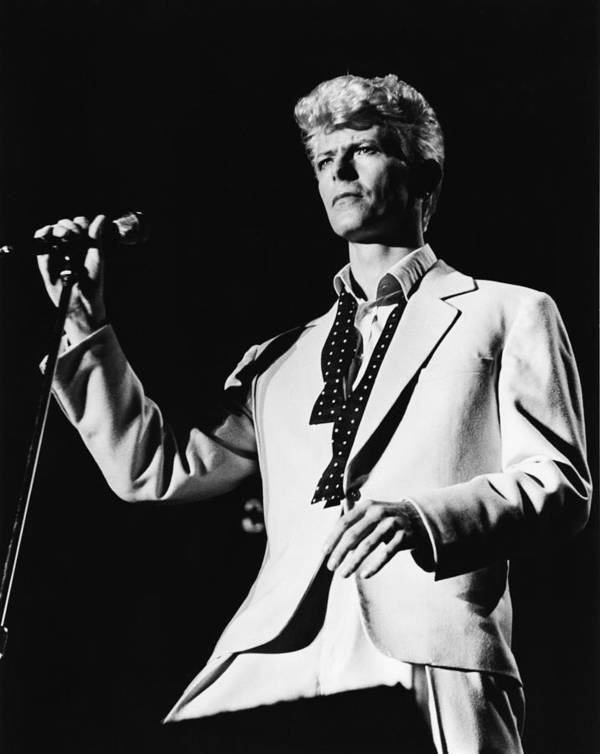 David Bowie Poster featuring the photograph David Bowie 1983 US Festival by Chris Walter