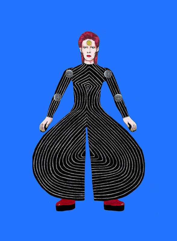 David Bowie Poster featuring the drawing David Bowie - Moonage Daydream by Dianah B