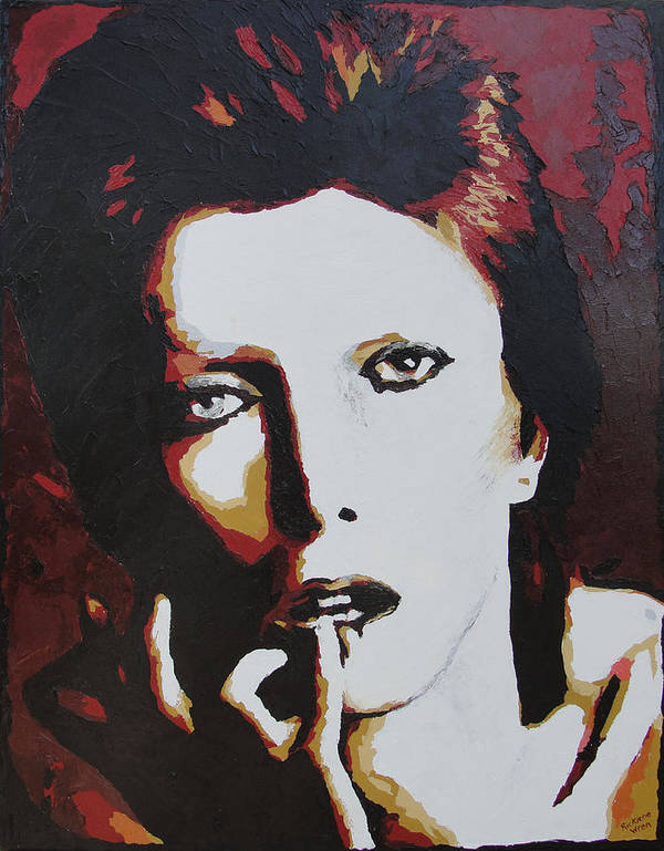 David Bowie Poster featuring the painting David Bowie by Ricklene Wren