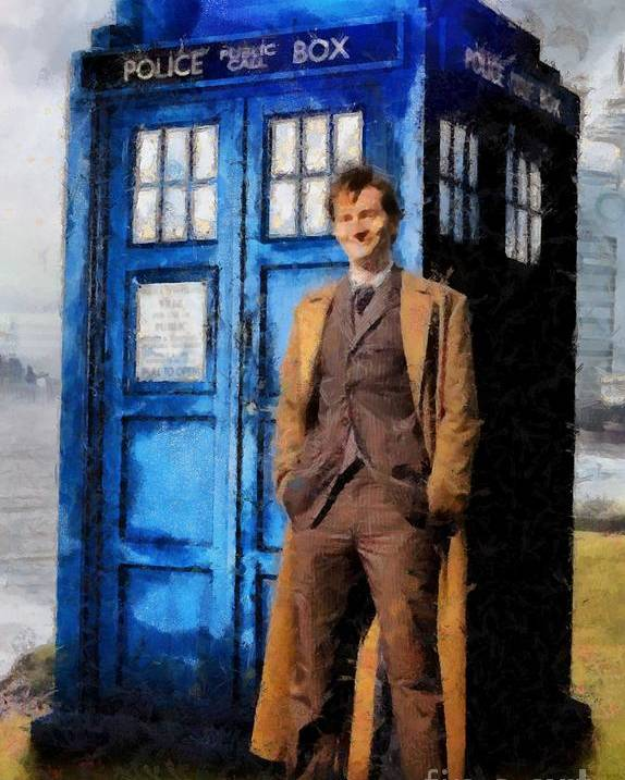 Doctor Who And Tardis Art Poster featuring the painting David Tennant As Doctor Who And Tardis by Elizabeth Coats