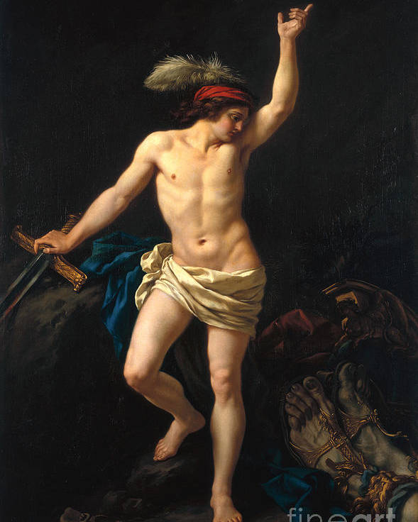 David Poster featuring the painting David Victorious by Jean Jacques II Lagrenee