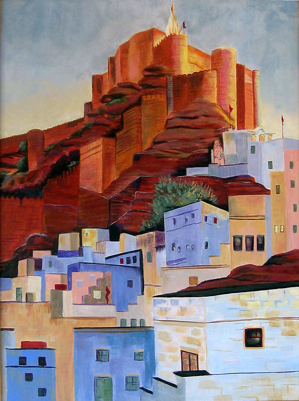 Landscape Poster featuring the painting Dawn At The Fort In Jodhpur by Art Nomad Sandra Hansen