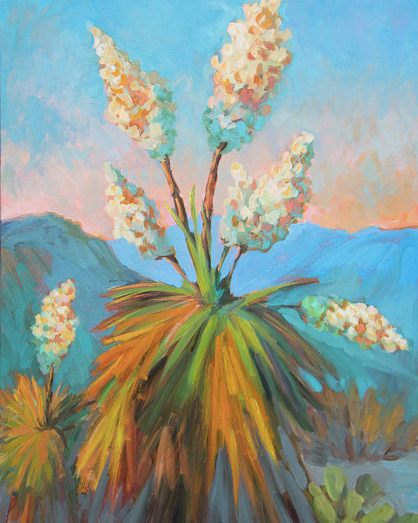 Desert Poster featuring the painting Dawn At Yuccaland by Diane McClary