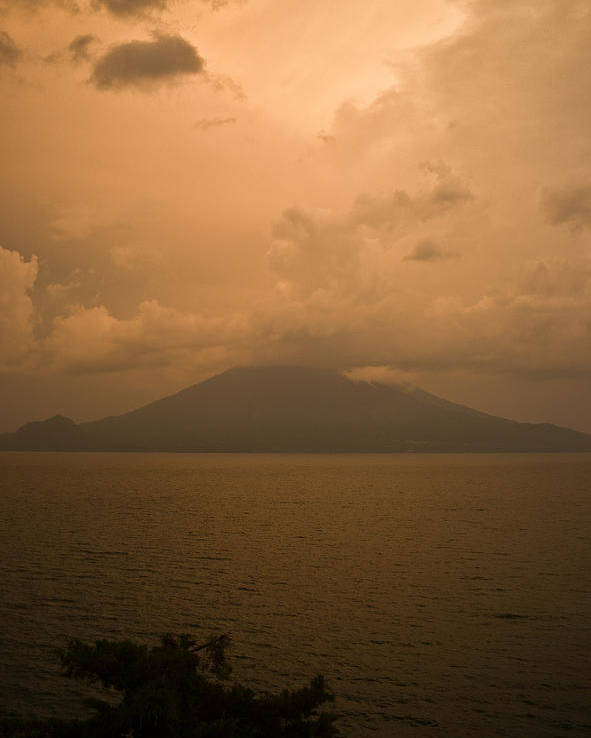 Central Poster featuring the photograph Dawn Over The Volcano 2 by Douglas Barnett