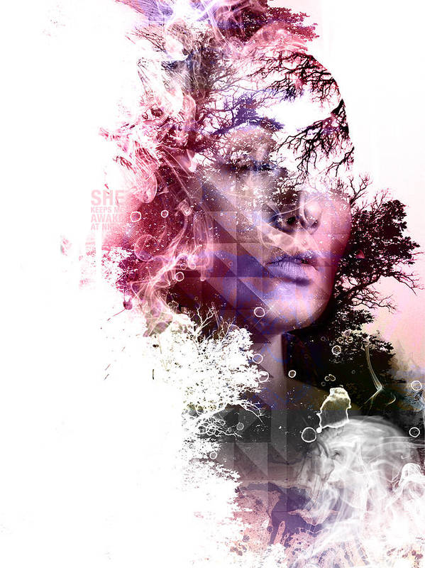 Woman Poster featuring the digital art Day Dream by INDO The artist