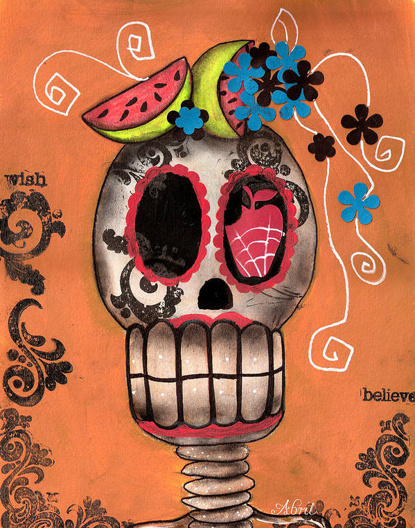 Day Of The Dead Skeleton Poster featuring the painting Day Of The Dead Watermelon by Abril Andrade Griffith