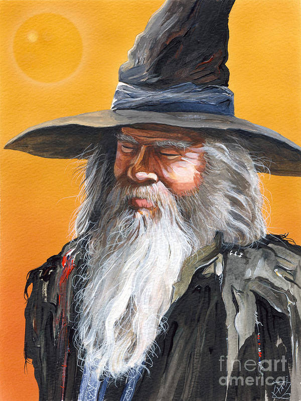 Fantasy Art Poster featuring the painting Daydream Wizard by J W Baker