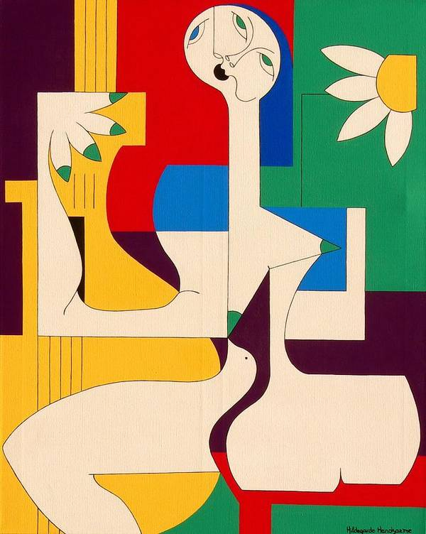 Women Birds Music Guitar Flower Humor Voice Poster featuring the painting De Sopraan by Hildegarde Handsaeme