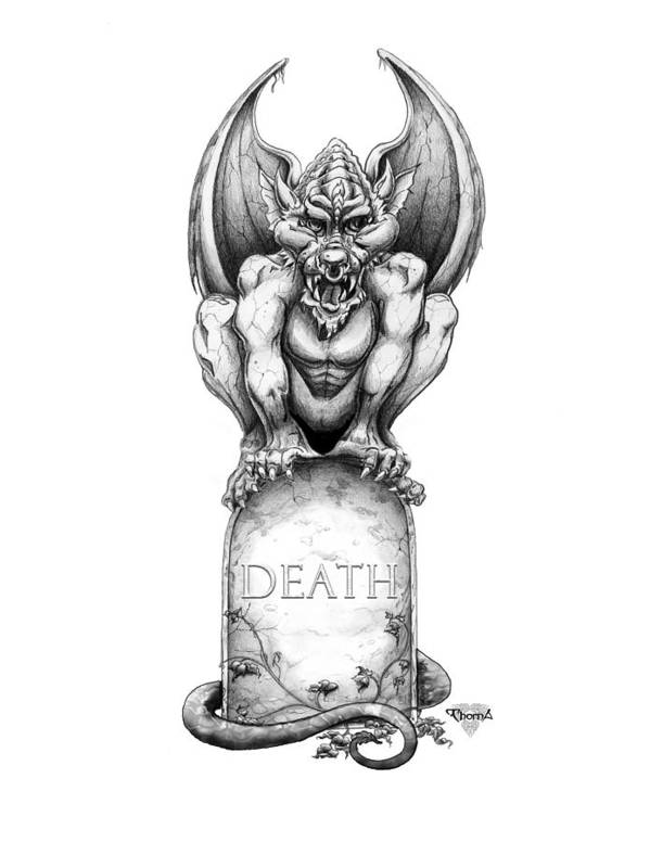 Gargoyle Poster featuring the drawing Death by Greg Piszko