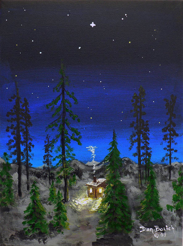 Bright Star Poster featuring the painting Decembers Star by Dan Bozich