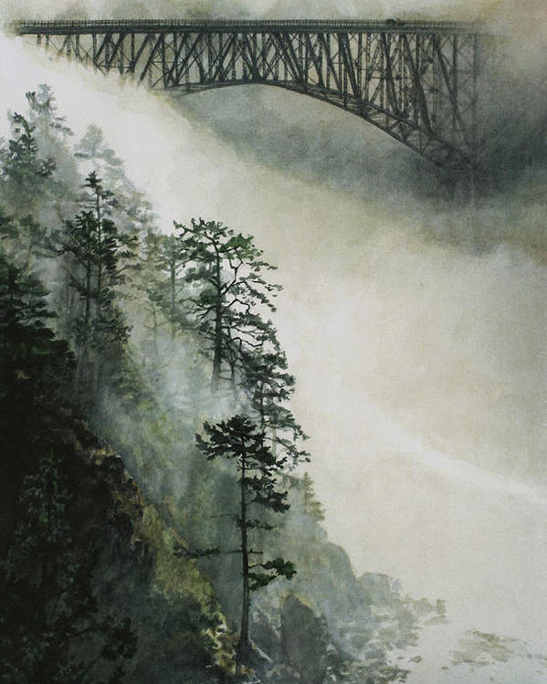 Fog Poster featuring the painting Deception Pass Fog by Perry Woodfin
