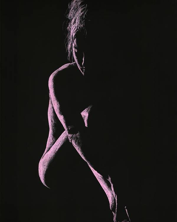 Nude Poster featuring the pastel Decisions by Richard Young