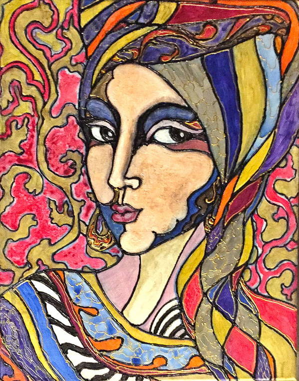 Woman Poster featuring the painting Decoface 3 by Rae Chichilnitsky