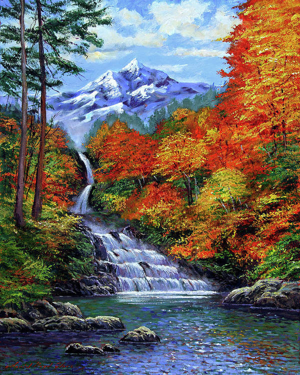 Autumn Leaves Poster featuring the painting Deep Falls In Autumn by David Lloyd Glover