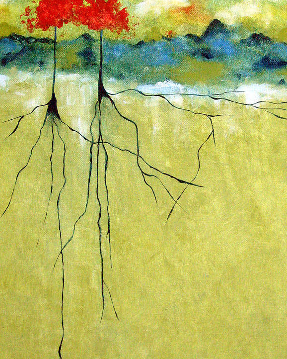 Abstract Poster featuring the painting Deep Roots by Ruth Palmer