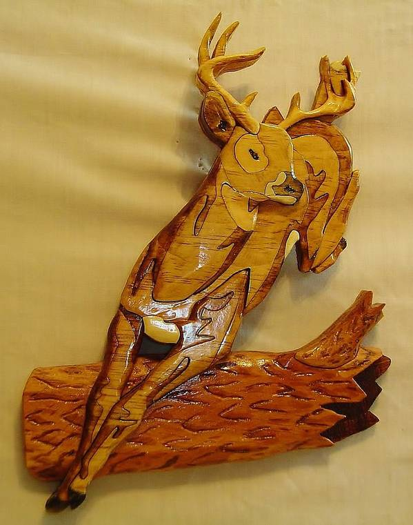 Intarsia Poster featuring the sculpture Deer Jumping Over A Log by Russell Ellingsworth