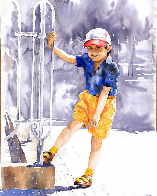 Watercolor Watercolour Figurativ Portret Poster featuring the painting Denis 02 by Yuriy Shevchuk