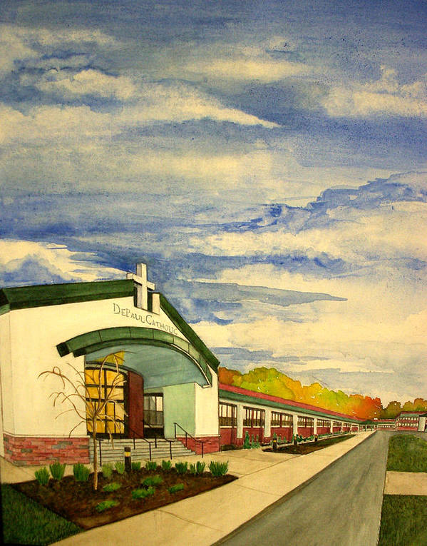 Landscape Poster featuring the painting Depaul Catholic by Joe Lanni