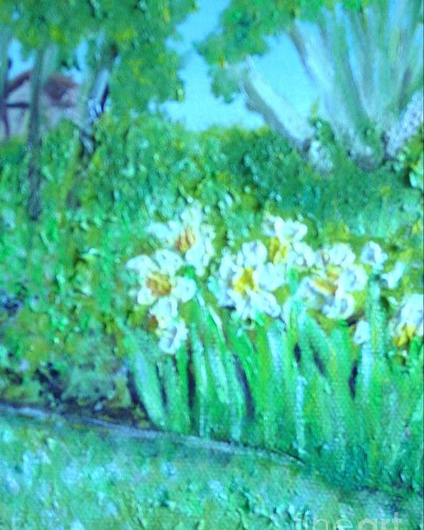 Daffodils Poster featuring the painting Dependable Daffodils by Laurie Morgan