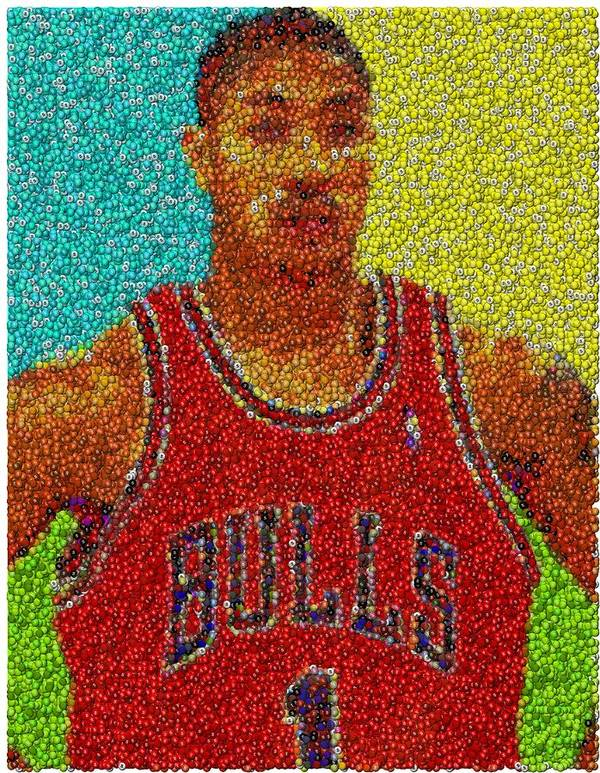 Chicago Poster featuring the mixed media Derrick Rose Skittles Mosaic by Paul Van Scott