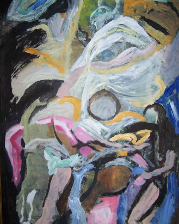 Abstract Poster featuring the painting Descending Figures by Geraldine Liquidano