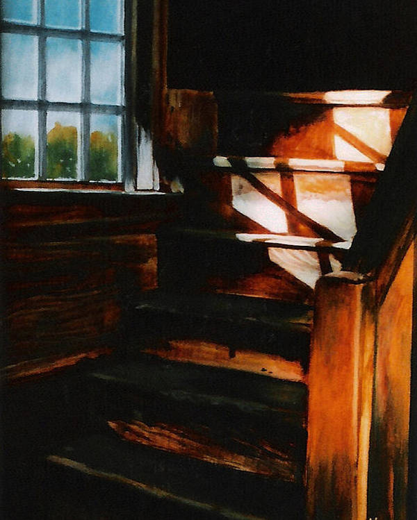 Wooden Stairs Poster featuring the painting Descending Light by Keith Gantos
