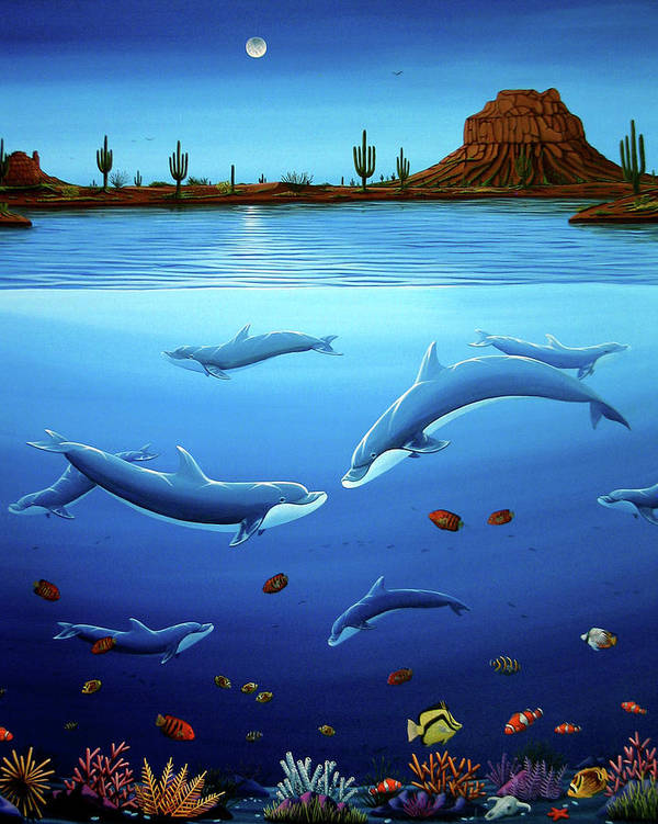 Ocean Poster featuring the painting Desert Dolphins Close by Lance Headlee
