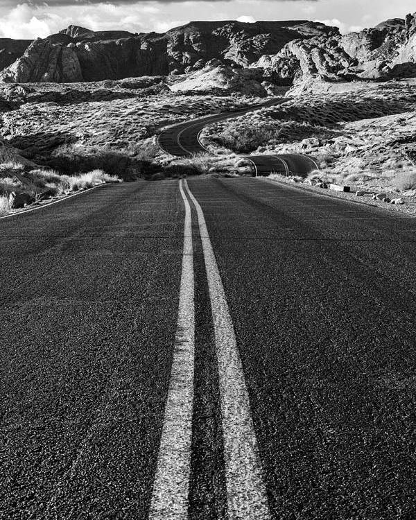 Valley Of Fire Poster featuring the photograph Desert Journey B/w by James Marvin Phelps
