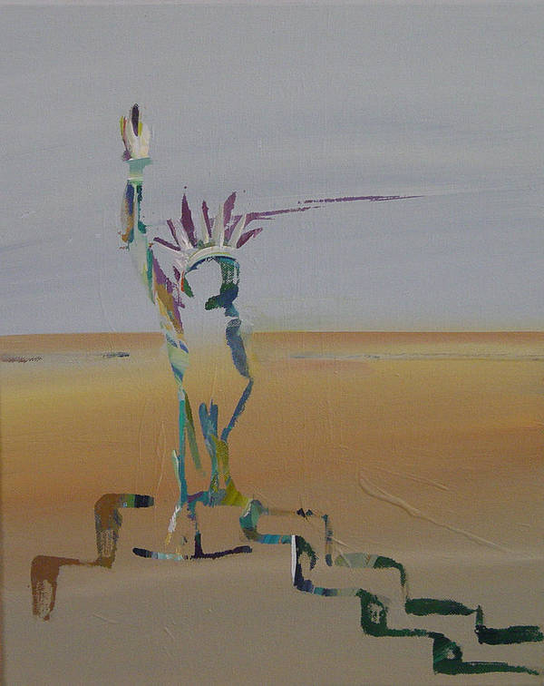 Statue Of Liberty Poster featuring the painting Desert Liberty by Kevan Krasnoff