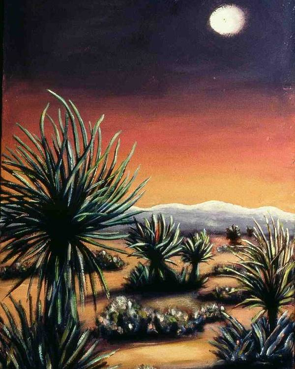 Desert Poster featuring the painting Desert Moon by Helen O Hara