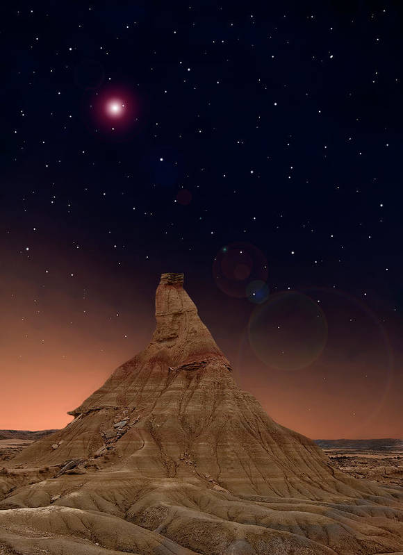 Vertical Poster featuring the photograph Desert Night by Inigo Cia