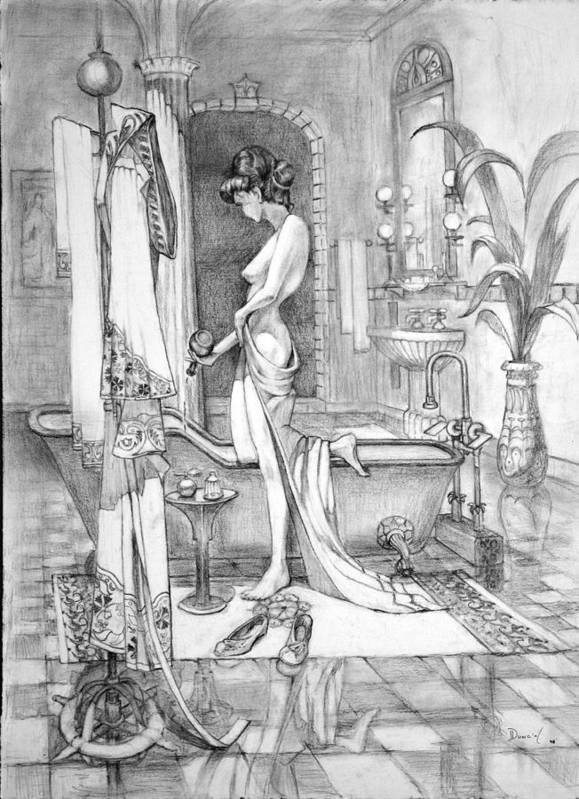 Llady In Her Bath. Poster featuring the drawing Deserved The Drawing by Bob Duncan