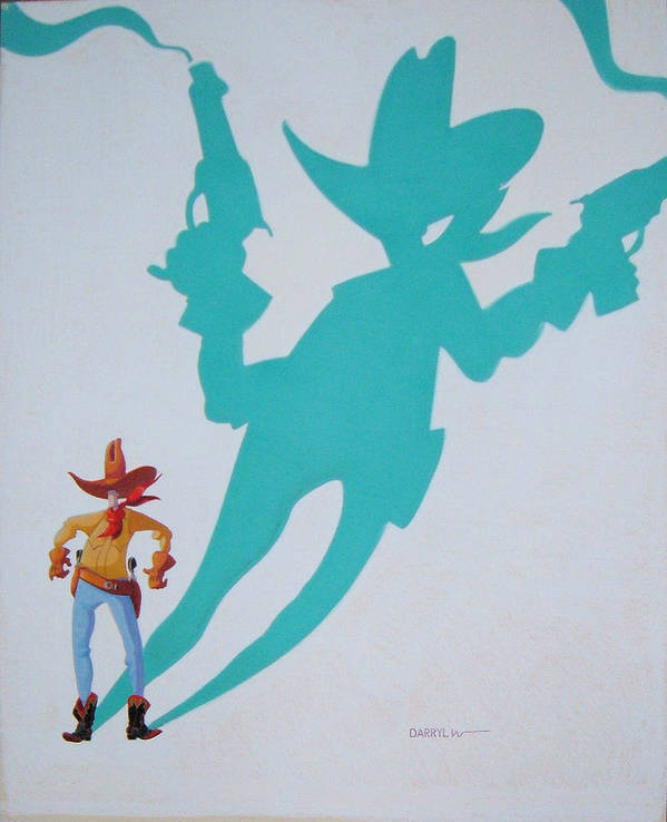 Cowboy Poster featuring the painting Destiny's Shadow by Darryl Willison