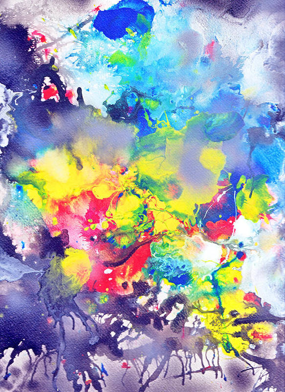 Abstract Poster featuring the painting Detail The Emergence Of Color by Eugene Foltuz